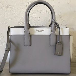 Kate Spade Cameron medium satchel taupe white